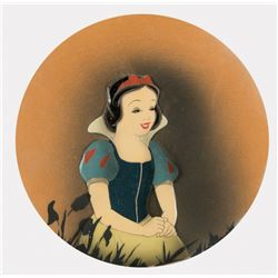 """""""Snow White"""" production cel on an airbrushed Courvoisier background - Snow White and the 7 Dwarfs."""