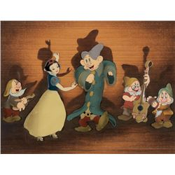 """Snow White"" and (4) Dwarfs on a wood veneer Courvoisier background from Snow White and the 7 Dwarfs"