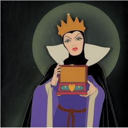 """Evil Queen"" with the heart box production cel on a Courvoisier bg from Snow White and the 7 Dwarfs."