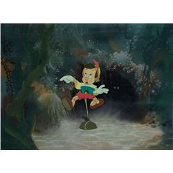 """Pinocchio"" production cel on a preliminary production background from Pinocchio."