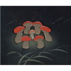 """Mushrooms"" production cels on a Courvoisier bg from the ""Nutcracker Suite"" segment of Fantasia."