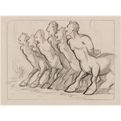 """Centaurs"" production layout drawing from ""The Pastoral Symphony"" segment of Fantasia."