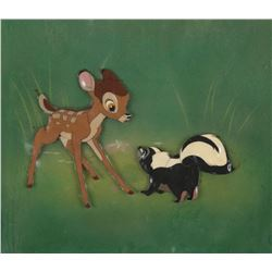 """Bambi"" and ""Flower"" production cels on an airbrushed Courvoisier background from Bambi."