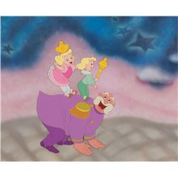 """The King"" and ""Kids"" production cel on a production background from Cinderella."