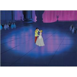 """""""Cinderella"""" and """"Prince Charming"""" production cel on a custom painted background from Cinderella."""