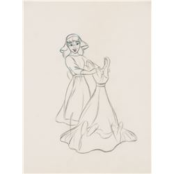 """""""Cinderella"""" holding the dress production drawing from Cinderella."""