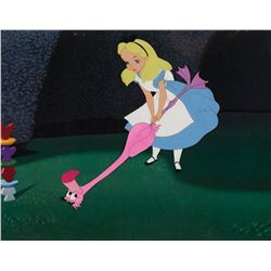 """Alice"" and ""Pink Flamingo"" production cel from Alice in Wonderland."