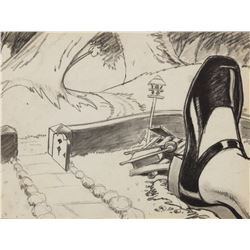 "Alice in Wonderland production layout drawing featuring ""Alice"" and the ""White Rabbit's"" front yard."