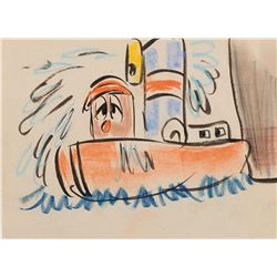 """Little Toot"" production storyboard drawing from Little Toot."