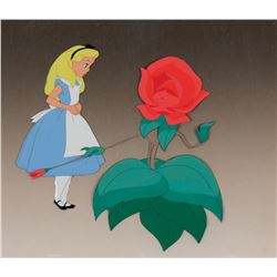 """Alice"" and ""Red Rose"" production cels from Alice in Wonderland."