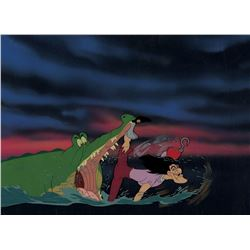 """""""Captain Hook"""" and """"Tick-Tock"""" production cel with a matching water effects cel on a custom bg."""