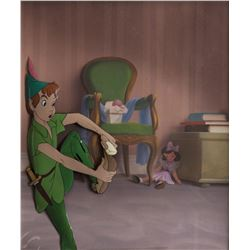 """Peter Pan"" production cel on a production background from Peter Pan."