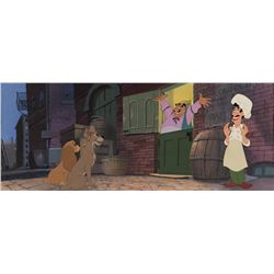 """Bella Nolte"" production cels on pan production bg with ""Lady"", ""Tramp""  from Lady and the Tramp."