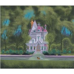"Eyvind Earle concept painting of ""Lady"", ""Tramp"" and ""the Darling's"" house for Lady and the Tramp."