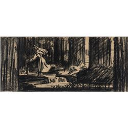 """Briar Rose"" running through the forest production storyboard drawing from Sleeping Beauty."