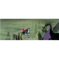 """Maleficent"" & ""Prince Philip"" production cels on Eyvind Earle pan bg from Sleeping Beauty."