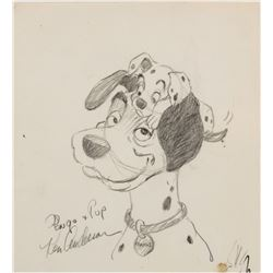 "Ken Anderson drawing of ""Pongo"" and ""Pup"" from 101 Dalmatians."