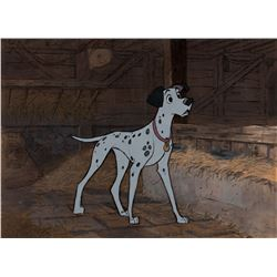 """Pongo"" production cel on a production background from 101 Dalmatians."