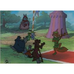 """Robin Hood"", ""Lady Cluck"" and towns people production cels on a production bg from Robin Hood."