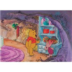 """""""Winnie the Pooh"""" and """"Piglet"""" production cel on a matching production bg from an educational short."""