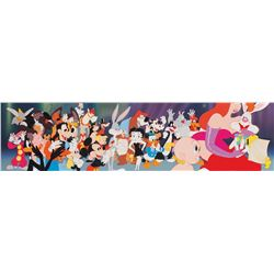Cast of characters pan production cels on a studio prepared background from Who Framed Roger Rabbit.