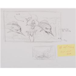 """Ariel"", ""Flounder"" & ""Sebastian"" (5) production drawings from The Little Mermaid: Ariel's Beginning"