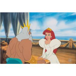 """Ariel"" in her wedding gown and ""King Triton"" production cels from The Little Mermaid."