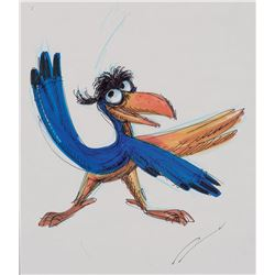 "(2) ""Zazu"" concept production drawings for The Lion King."