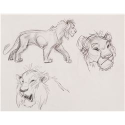 """""""Simba"""" Studies (4) production drawings for The Lion King."""