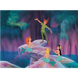 """""""Peter Pan"""" and """"Mermaids"""" model cel with matching print background for the limited edition."""