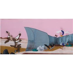 """Road Runner"" and ""Coyote"" production cels on pan production bg from a Warner Bros. theatrical short"