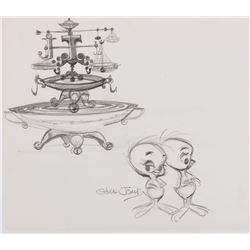 """Tweety Bird"" with birdbath production layout drawing from a Warner Bros. short by Chuck Jones."