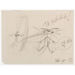 """Bugs Bunny"" & ""Daffy Duck"" production layout drawing from a Warner Bros. short by Chuck Jones."