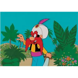 """""""Yosemite Sam"""" production cel on a production background from Daffy Duck's Fantastic Island."""