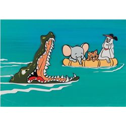 """Ruff"" and ""Reddy"" with an elephant & crocodile production cels & bg from The Ruff and Reddy Show."