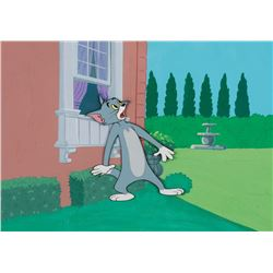 """""""Tom"""" production cel on a Hanna-Barbera production background from a Tom and Jerry theatrical short."""