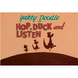 """""""Yakky Doodle"""" production title cels on a matching production background from The Yogi Bear Show."""