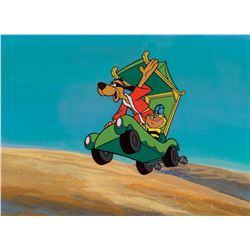 """Hong Kong Phooey"" and ""Spot"" in their ""Phooeymobile"" production cel on a production background."