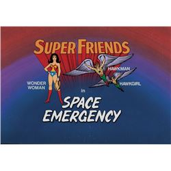 """Wonder Woman"", ""Hawkman"" ""Hawkgirl"" and ""Space Emergency"" production title cels from Super Friends."