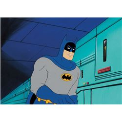 """""""Batman"""" production cel on a production background from Super Friends."""