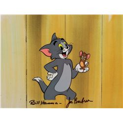 """Tom"" and ""Jerry"" production cel on a production background from The Tom and Jerry Show."