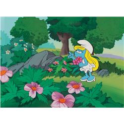 """Smurfette"" production cel on a production background from The Smurfs."