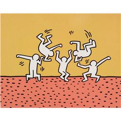 "Keith Haring Foundation production cels & background from the Sesame Street segment, ""5 Dancing Men"""
