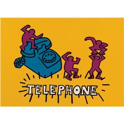 "Keith Haring Foundation production cels & background from the Sesame Street segment, ""Telephone""."