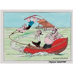 "Myron Waldman watercolor painting featuring ""Popeye"" ""Olive Oyl"" and ""Bluto""."