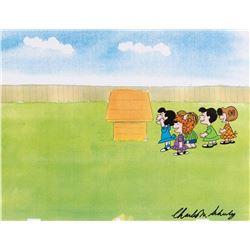 """""""Lucy"""" & girls production cel from It was a Short Summer, Charlie Brown signed by Charles Schulz."""