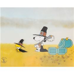 """Snoopy"" and ""Woodstock"" production cels from A Charlie Brown Thanksgiving."