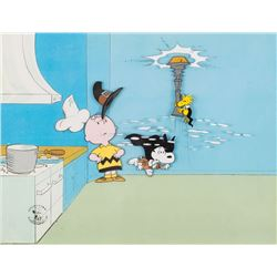 """Charlie Brown"", ""Snoopy"" and ""Woodstock"" production cels from A Charlie Brown Thanksgiving."