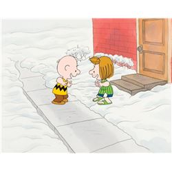 """Charlie Brown"" and ""Peppermint Patty"" production cel & background from a Peanuts TV special."