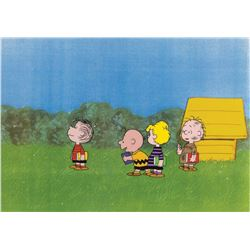 """Charlie Brown"", ""Linus"", ""Schroeder"" and ""Pigpen"" production cels from a Peanuts TV special."